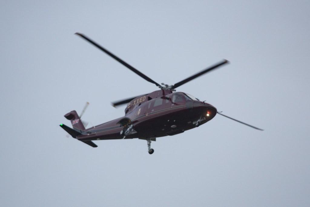 Prince Philip arrives by helicopter at the Sandringham estate, Norfolk, UK - 24 Dec 2019