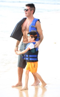 Simon Cowell spotted on the beach in Barbados