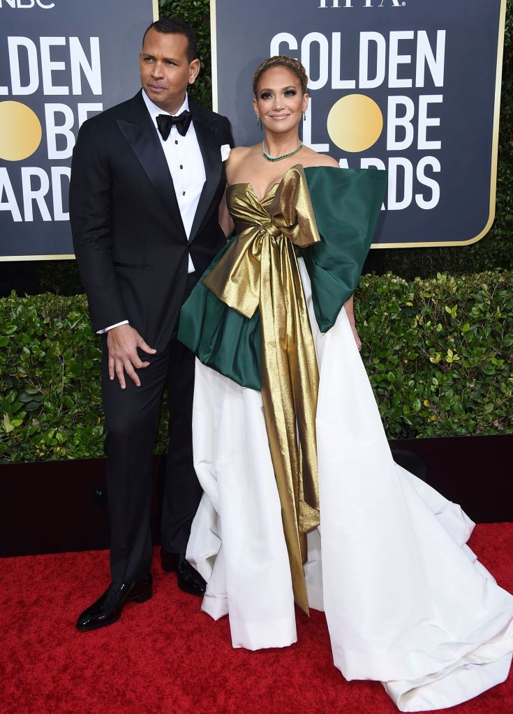 Jennifer Lopez and Alex Rodriguez on Golden Globes Red Carpet