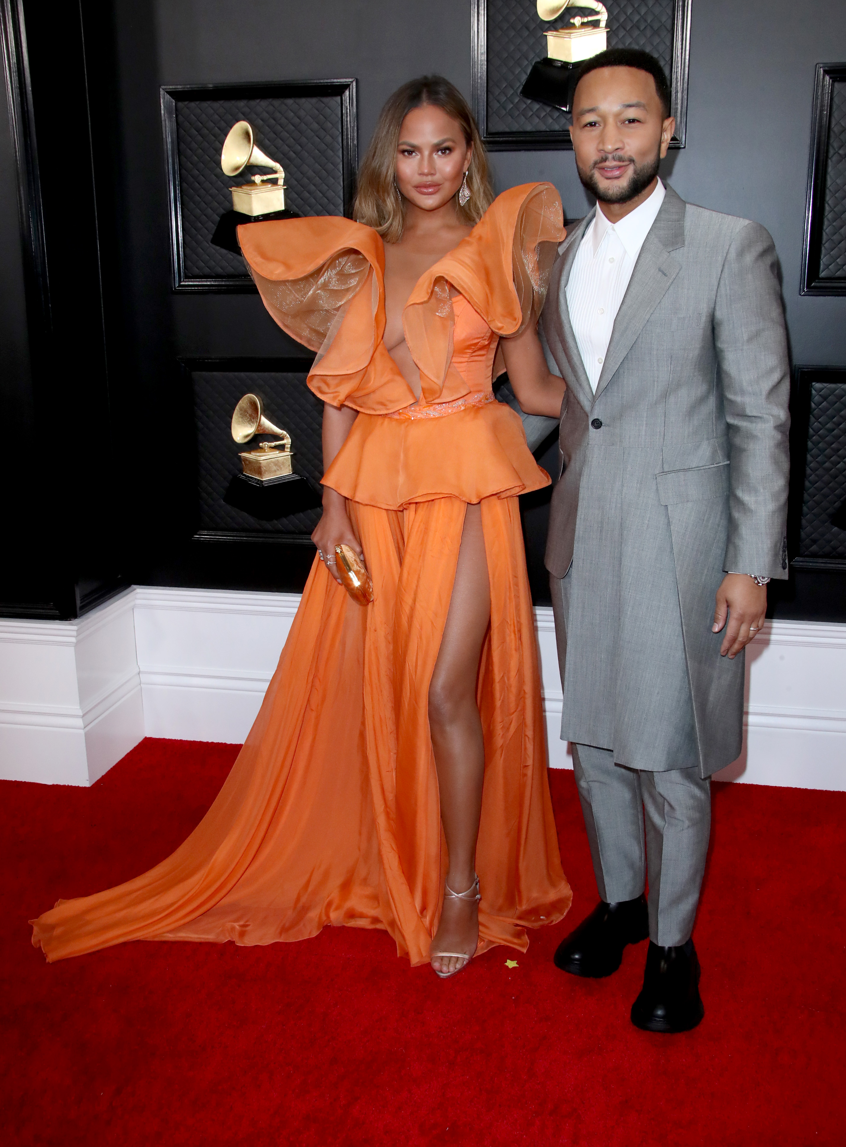 Chrissy Teigen and John Legend Turn the 2020 Grammys Red Carpet Into Date Night