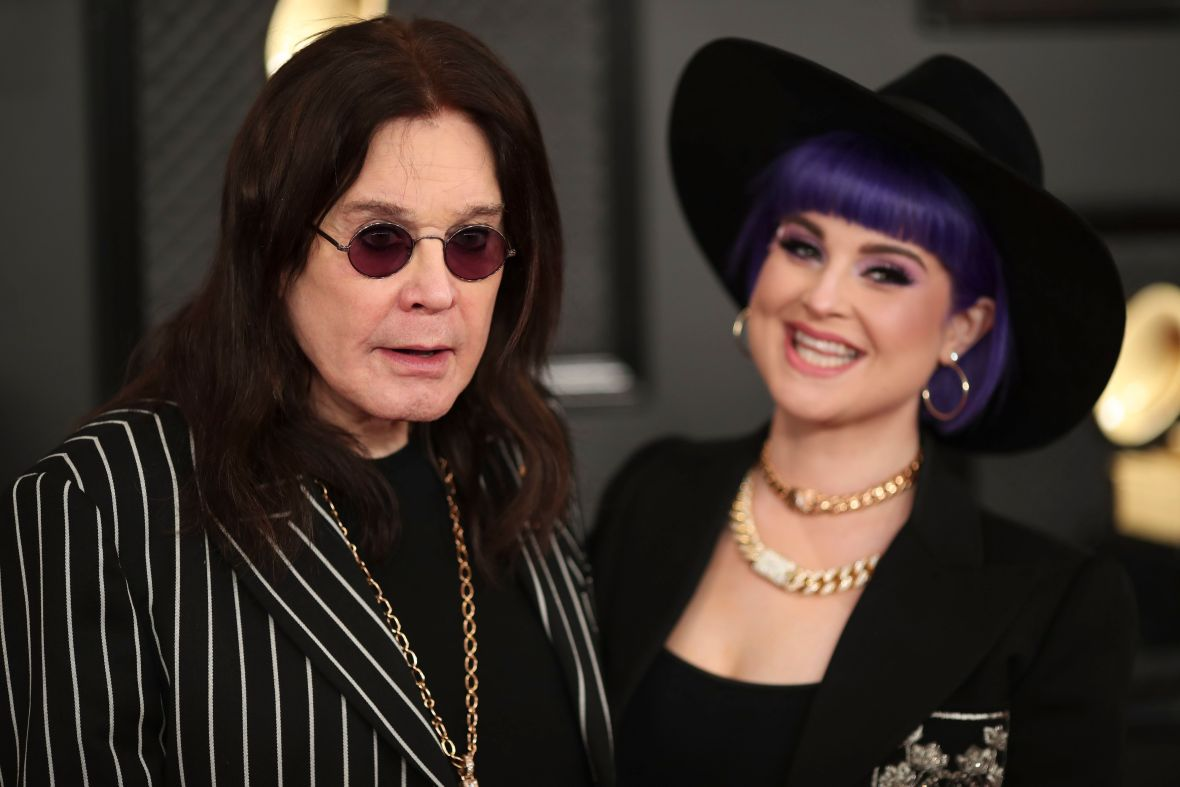 Ozzy Osbourne and Kelly Osbourne at the 2020 Grammys Red Carpet
