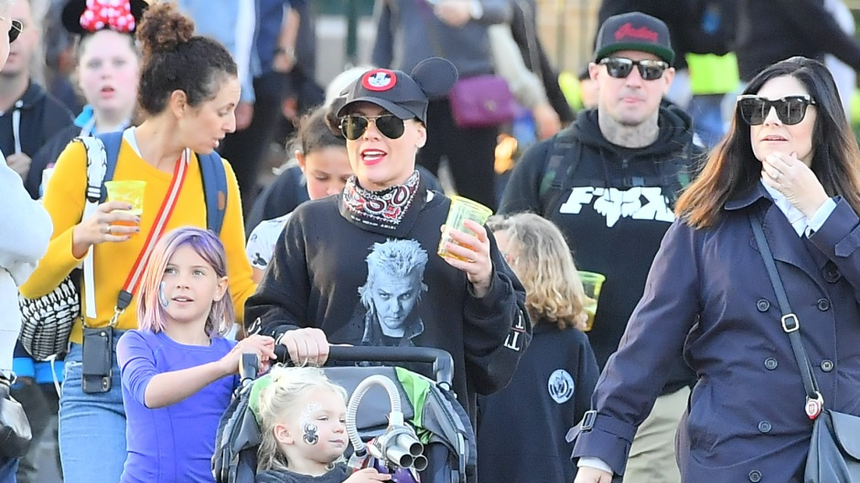 EXCLUSIVE: Pink and her husband Carey Hart take their kids to Disneyland for a fun day of thrill rides