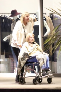 Priscilla Presley takes her mother out in a wheel chair to an Italian restaurant in Bel-Air!