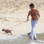 Simon Cowell wears long pants to walk his dogs on the beach in Barbados