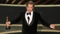 Brad Pitt Holds Academy Award While Giving Acceptance Speech at 2020 Oscars