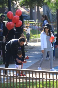 EXCLUSIVE: Eva Longoria and her husband Jose Baston takes their kid Santiago to the park in Beverly Hills