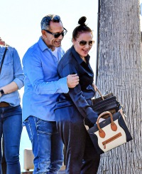 EXCLUSIVE: Leah Remini & husband Angelo Pagan show some PDA after lunch in Malibu, CA.