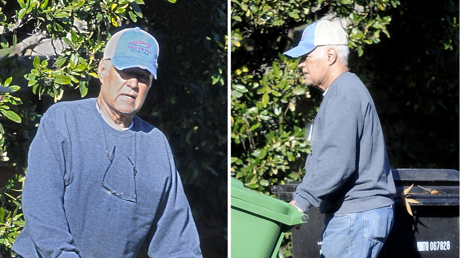 Beloved Jeopardy host Alex Trebek takes care of some household chores during downtime between filming.