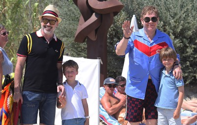 Elton John, David Furnish, Neil Patrick Harris and David Burtka out and about, St Tropez, France - 10 Jul 2018