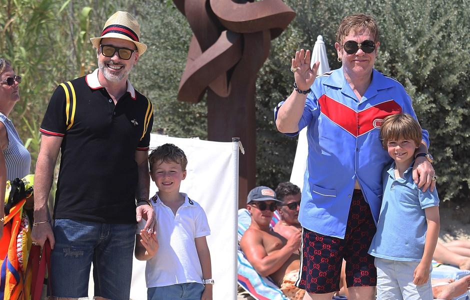 Elton John, David Furnish, Neil Patrick Harris and David Burtka out and about, St Tropez, France - 10 Jul 2018