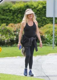 Goldie Hawn out for a walk with her son Wyatt