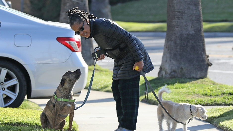 Meghan Markle's mother Doria Ragland is seen leaving isolation to walk her two dogs in her neighborhood after the news broke that her daughter, son-in-law Prince Harry, and their son Archie have relocated from Canada to LA.