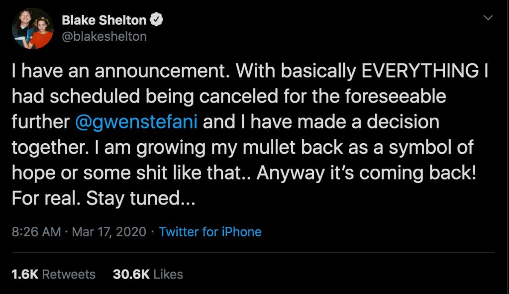 blake shelton mullet tweet