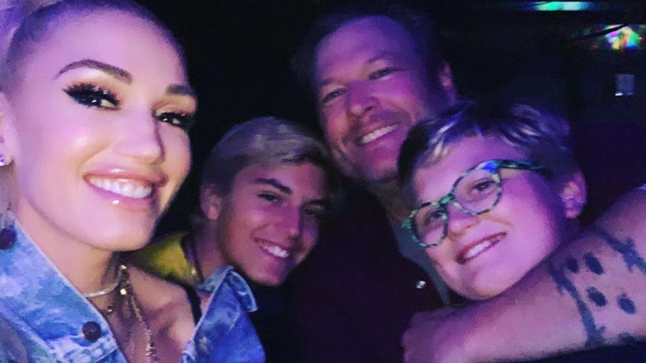 Gwen Stefani with her kids and Blake Shelton