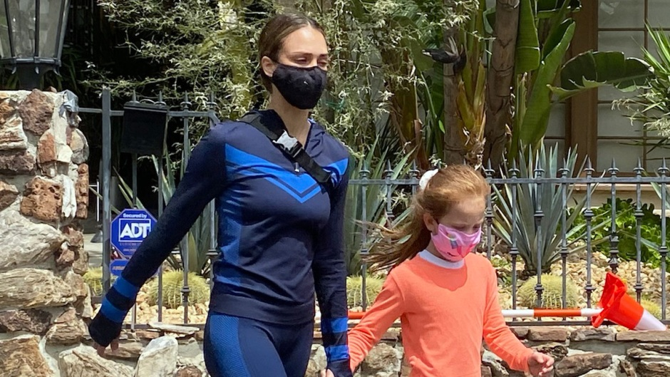 Jessica Alba out for a walk with her daughter in Los Angeles