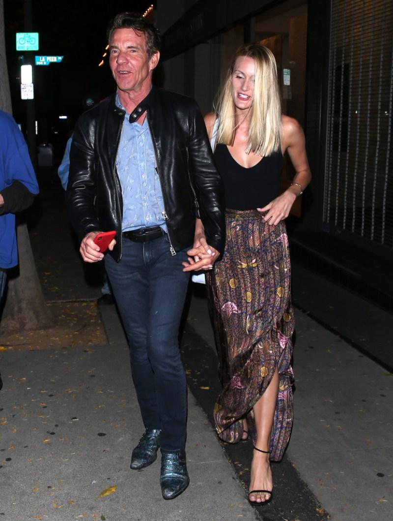 Dennis Quaid and girlfriend Laura Savoie were seen leaving dinner at 'Craigs' Restaurant in West Hollywood, CA