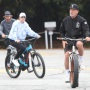 Arnold Schwarzenegger, Patrick Schwarzenegger going for a bike ride in Santa Monica