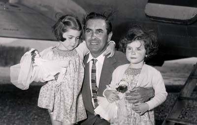 Tyrone Power (died November 1958) The Film Star Is Pictured With His Daughters Romina Power Aged 4 And Taryn Power Aged 2.