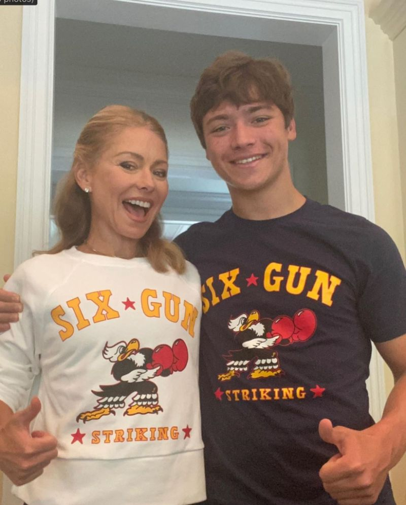 Kelly Ripa And Son Joaquin Wear Matching T-Shirts In The