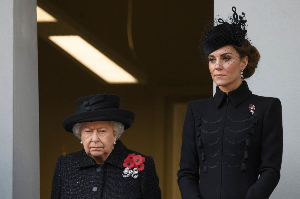 Queen Elizabeth and Duchess Kate Wear Black on Rememberance Day