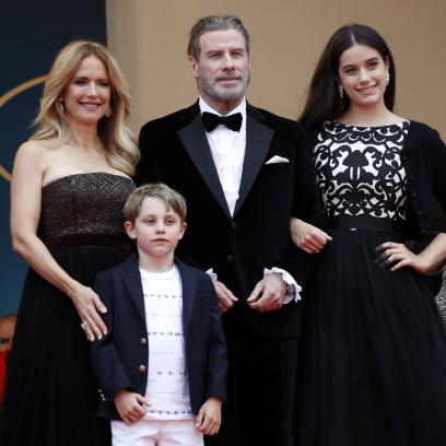 John Travolta Smiles in Rare Photo With Kids Ella and Benjamin